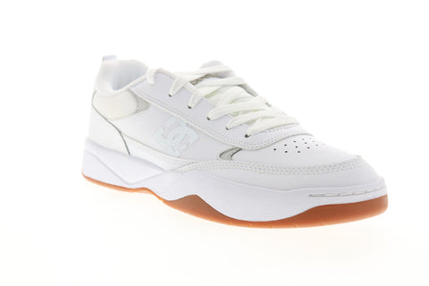 DC Penza ADYS100509 Mens White Leather Leather Athletic Lace Up Skate Shoes