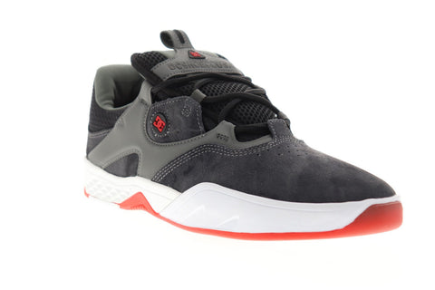 dc kalis le adys100569 mens gray suede lace up athletic skate shoes