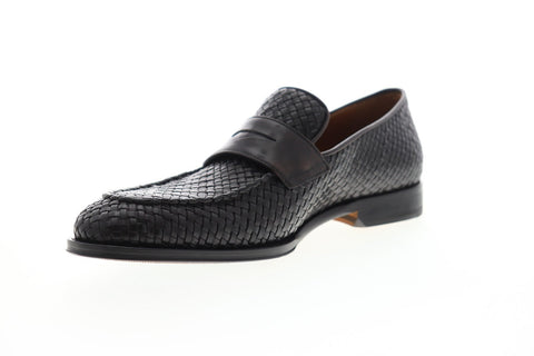 Bruno Magli Fanetta Woven BM600476 Mens Black Leather Dress Loafers Shoes