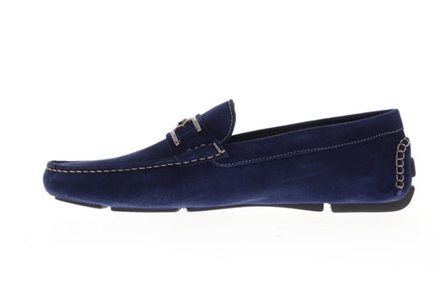 Bruno Magli Neo BM600661 Mens Blue Leather Dress Slip On Loafers