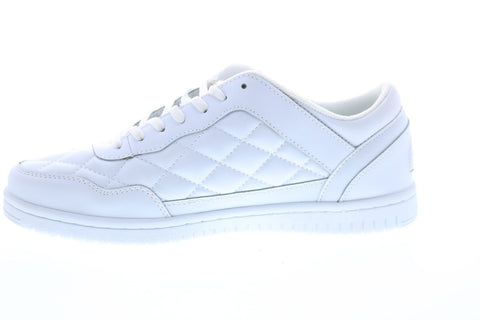 British Knights Quilts BMQUILL-100 Mens White Leather Lace Up Low Top Sneakers Shoes