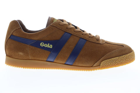 Gola Harrier Suede CMA192 Mens Brown Suede Lace Up Low Top Sneakers Shoes