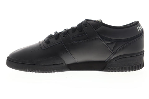 Reebok Workout Low CN0637 Mens Black Leather Athletic Cross Training Shoes