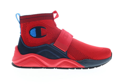 Champion Rally Lockdown CP100241M Mens Red Mesh Strap High Top Sneakers Shoes