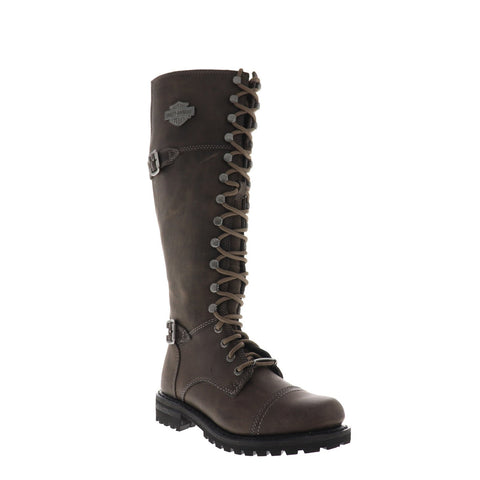 Harley-Davidson Beechwood D83858 Womens Black Leather Zipper Motorcycle Boots Shoes