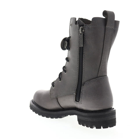 Harley-Davidson Wicklyn D84479 Womens Gray Leather Zipper Motorcycle Boots Shoes