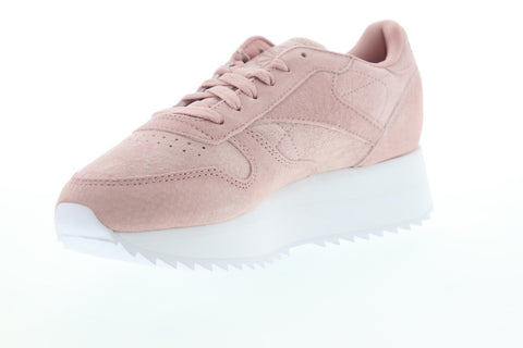 Reebok Classic Leather Double DV3628 Womens Pink Suede Lace Up Sneakers Shoes
