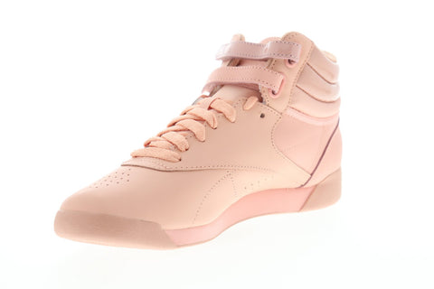 Reebok Freestyle HI DV3780 Womens Pink Leather Lace Up High Top Sneakers Shoes