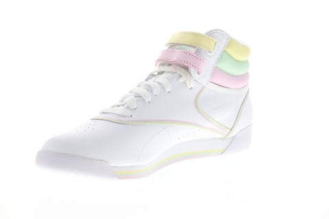 Reebok Freestyle HI DV3781 Womens White Leather Lace Up High Top Sneakers Shoes