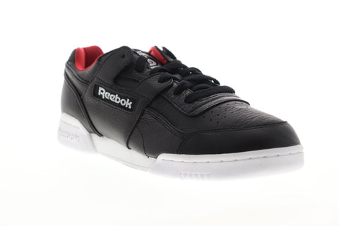 Reebok Workout Plus MU UFC 25 Years Mens Black Leather Low Top Sneakers Shoes