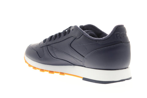 Reebok Classic Leather MU Mens Blue Leather Low Top Lace Up Sneakers Shoes