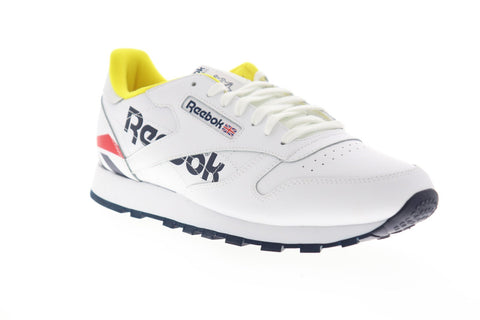 Reebok Classic Leather EG5275 Mens White Leather Lace Up Low Top Sneakers Shoes