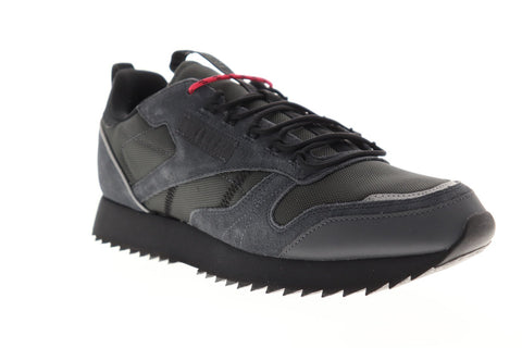 Reebok Classic Leather Ripple Trail Mens Black Nylon Low Top Sneakers Shoes