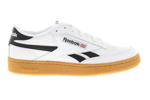 Reebok Club C Revenge Mens White Leather Low Top Lace Up Sneakers Shoes