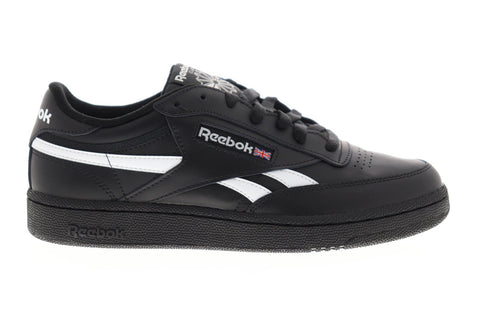 Reebok Club C Revenge Mens Black Leather Low Top Lace Up Sneakers Shoes