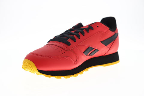 Reebok Classic Leather MU FW2265 Mens Red Leather Low Top Sneakers Shoes