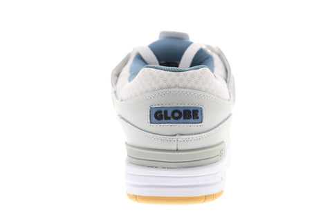 Globe Fusion GBFUS Mens White Gray Leather Lace Up Athletic Skate Shoes