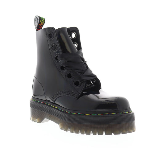 Dr. Martens Molly Rainbow Patent Womens Black Casual Dress Boots Shoes