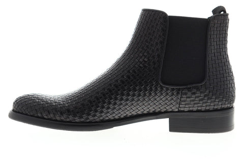 Robert Graham Woodward RGB5140 Mens Black Leather Slip On Chelsea Boots Shoes