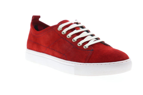 Robert Graham Ernesto RGL5021 Mens Red Suede Lace Up Low Top Sneakers Shoes
