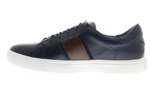 Robert Graham Delgado RGL5022 Mens Blue Leather Lace Up Low Top Sneakers Shoes