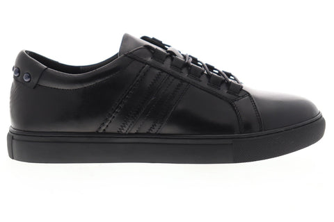 Robert Graham Horton RGL5129 Mens Black Leather Lace Up Low Top Sneakers Shoes