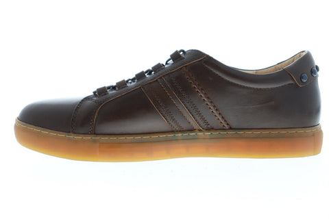 Robert Graham Horton RGL5129 Mens Brown Leather Lace Up Low Top Sneakers Shoes