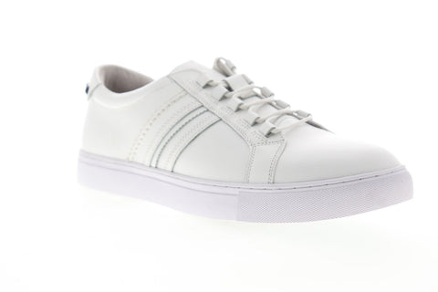 Robert Graham Horton RGL5129 Mens White Leather Lace Up Low Top Sneakers Shoes