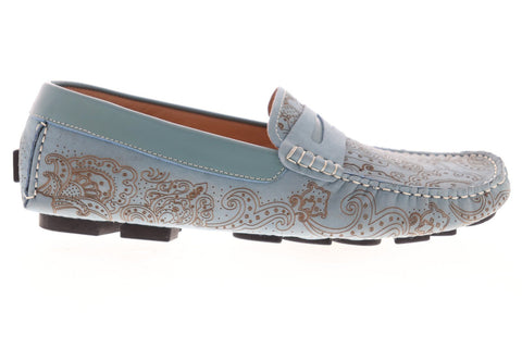 Robert Graham Rampa RGS5001 Mens Blue Nubuck Casual Slip On Loafers Shoes