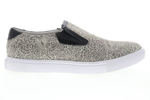 Robert Graham Estrada RGS5006 Mens Gray Leather Slip On Sneakers Shoes