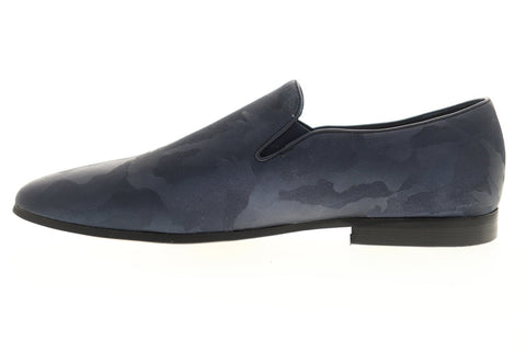 Robert Graham Fry RGS5104 Mens Blue Leather Dress Slip On Loafers Shoes