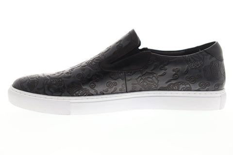Robert Graham Baxter RGS5137W Mens Black Wide 2E Leather Slip On Sneakers Shoes
