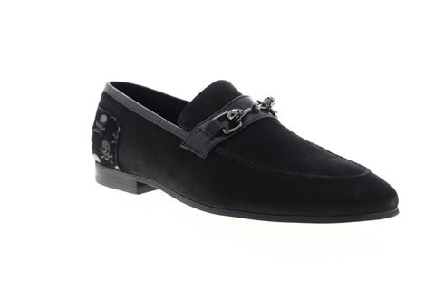 Robert Graham Costas RGS5191 Mens Black Suede Dress Slip On Loafers Shoes