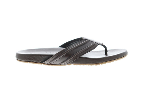 Tommy Bahama Mayaguana Mens Brown Leather Flip Flops Slip On Sandals Shoes