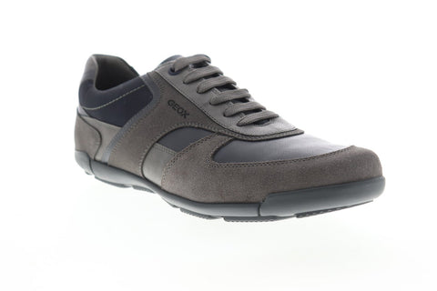 Geox U Edgware U823BB05422C9AF4 Mens Gray Suede Lace Up Low Top Sneakers Shoes