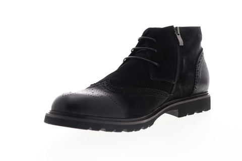 Zanzara Ancona ZF512C62 Mens Black Leather Lace Up Chukkas Boots Shoes