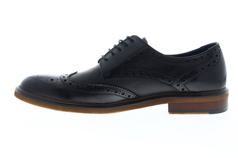 Zanzara Roman ZZC1212 Mens Black Leather Casual Lace Up Oxfords Shoes
