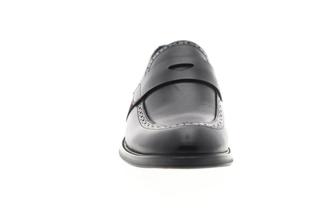 Zanzara Hensel ZZS1106 Mens Black Leather Dress Slip On Loafers Shoes
