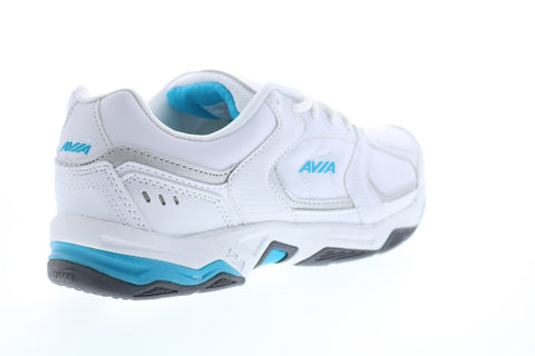 Avia Avi-Tangent A1483WWLS Womens White Leather Low Top Athletic Running Shoes