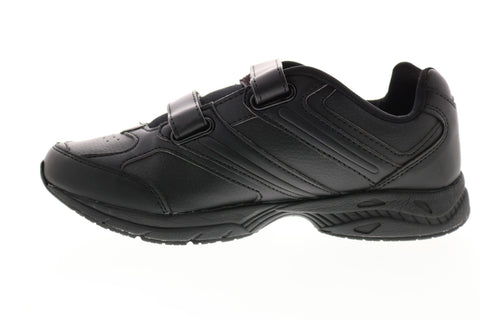 Avia A344WBSY Womens Black Wide 2E Leather Low Top Walking Athletic Shoes
