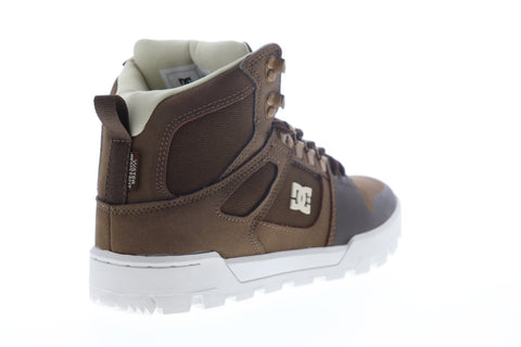 DC Pure High-Top Water Resistant Boot ADYB100006 Mens Brown Skate Sneakers Shoes