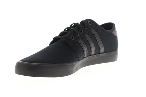 Adidas Seeley Mens Black Canvas Low Top Lace Up Sneakers Shoes