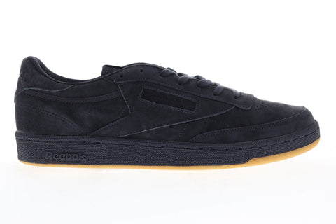 Reebok Club C 85 Tg Mens Black Suede Low Top Lace Up Sneakers Shoes