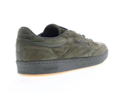 Reebok Club C 85 Tg Mens Green Suede Low Top Lace Up Sneakers Shoes