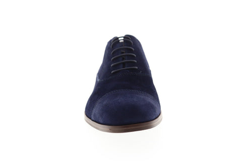 Bruno Magli Caymen Mens Blue Suede Casual Dress Lace Up Oxfords Shoes