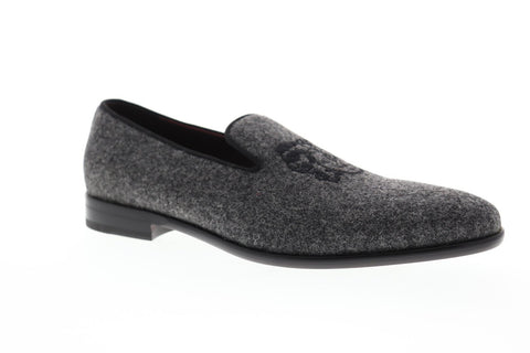 Bruno Magli Picasso Mens Gray Suede Casual Dress Slip On Loafers Shoes