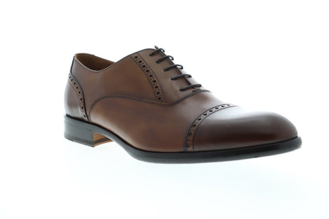 Bruno Magli Pisa Mens Brown Leather Casual Dress Lace Up Oxfords Shoes
