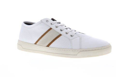 Bruno Magli Vico Mens White Leather Low Top Lace Up Sneakers Shoes