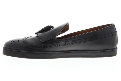 Bruno Magli Oliverio Mens Gray Leather Casual Dress Slip On Loafers Shoes