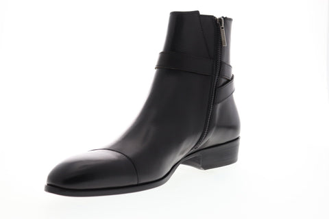 Bruno Magli Radford Mens Black Leather Casual Dress Zipper Boots Shoes